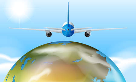 illustrated globes: Airplane flying over the earth illustration
