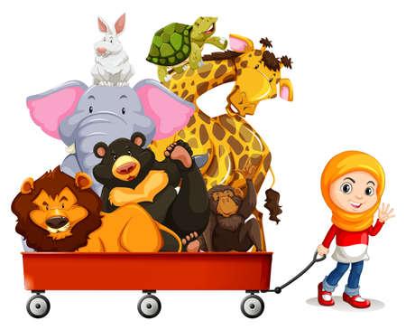 girl illustration: Wild animals on red wagon illustration
