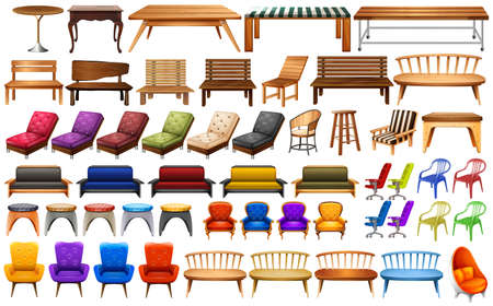 picnic table: Different design of chairs and table illustration