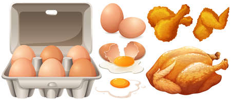 fried chicken: Eggs and fried chicken illustration
