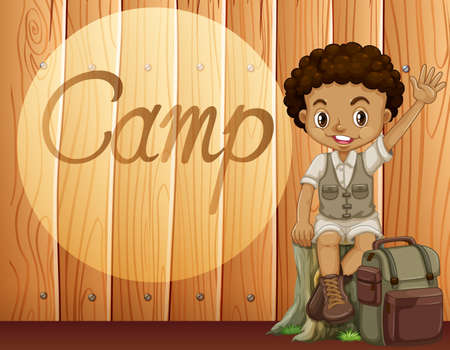 african american: African American boy in camping outfit illustration
