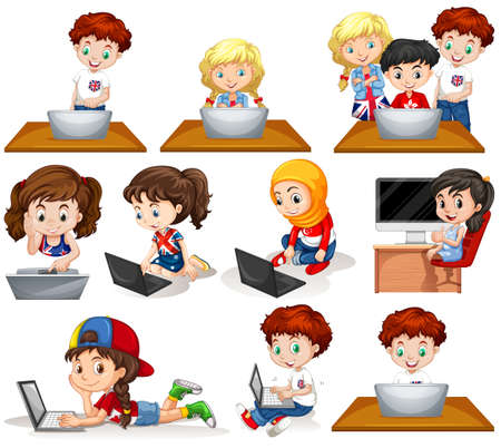 girl laptop: Boys and girls working on computer illustration
