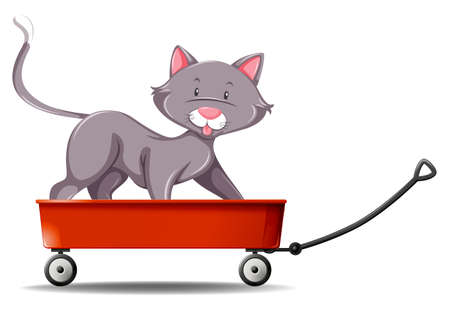 gray cat: Gray cat standing on red wagon illustration