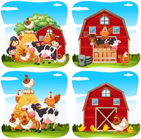 팜 그림에 어린이와 농장 동물 일러스트
