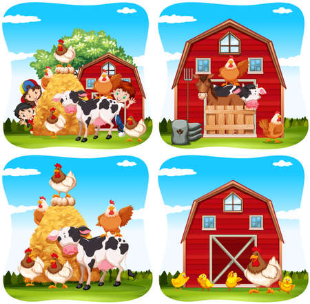 Los niños y los animales de granja en la granja ilustración