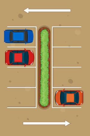 Top view of three cars parking in parking lot illustration Illustration