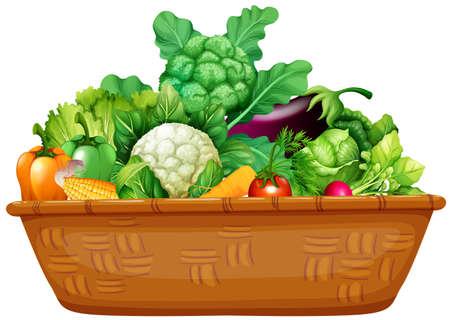 新鮮な野菜のイラストがいっぱい入ったかご  イラスト・ベクター素材