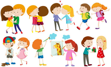 Children and people in love illustration