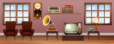 Woonkamer met vintage meubels illustratie