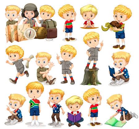 niño de pie: El muchacho rubio haciendo diferentes actividades de ilustración