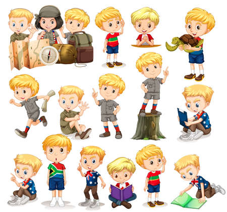 Blond boy doing different activities illustration