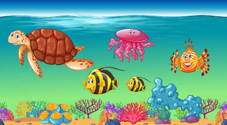 Sea animals swimming under the sea illustration