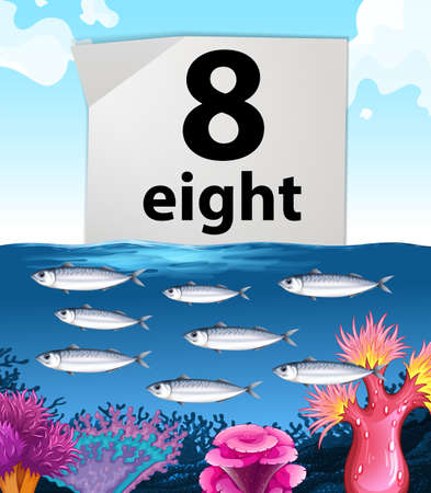 number eight: Number eight and eight fish swimming underwater illustration
