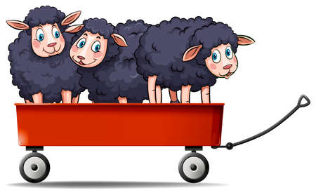sheeps: Three black sheeps on red wagon illustration
