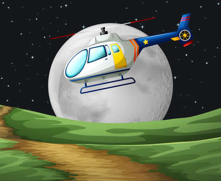 the hovercraft: Helicopter flying on the fullmoon night illustration Illustration