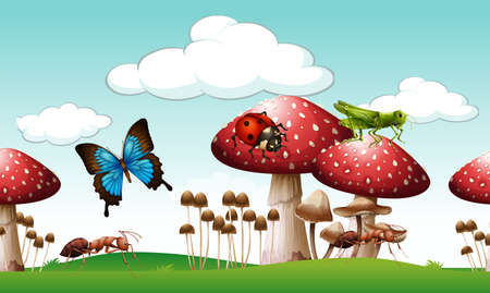 creature: Insects living in the park illustration