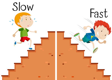 Opposite words slow and fast illustration