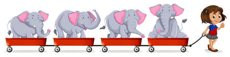small group of objects: Little girl pulling carts loaded with elephant illustration