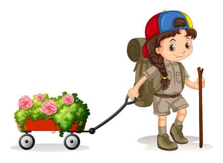 Meisje trekken wagen van bloemen illustratie Stock Illustratie