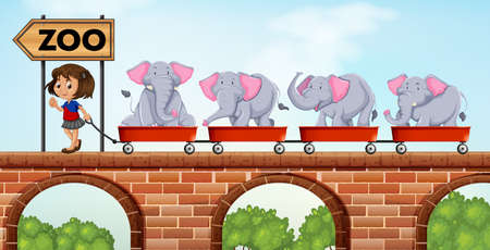 loaded: Girl pulling carts loaded with elephants to the zoo illustration Illustration