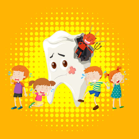 Children crying from tooth decay illustration