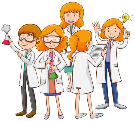 Male and female scientists working illustration