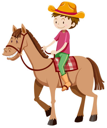 alone man: Man riding horse alone illustration