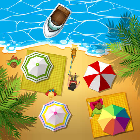 people relaxing: People relaxing at the beach illustration