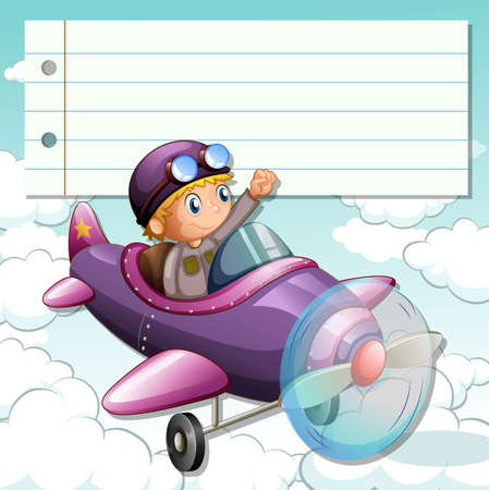 airplane: Line paper design with boy on airplane illustration Illustration