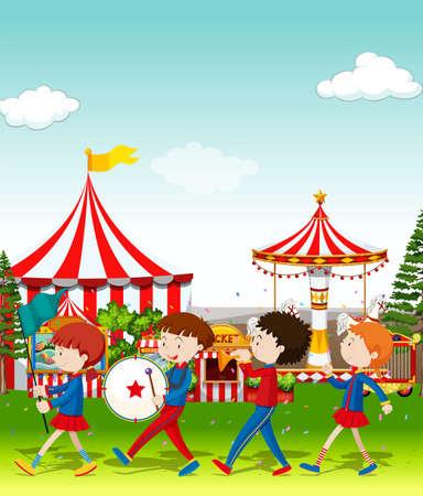 bands: Band playing at the circus illustration