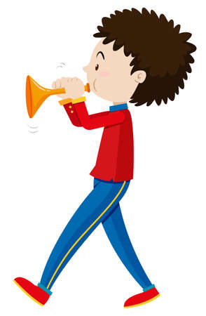 Little boy playing trumpet illustration