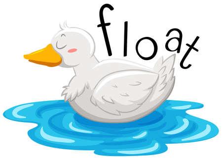 birds cartoon: Little duck floating on the water illustration Illustration