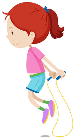Little girl skipping the rope illustration