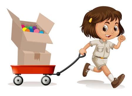 Pequeño carro tirando chica con dos cajas de ilustración