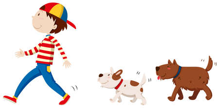 wild living: Two dogs following the man illustration Illustration