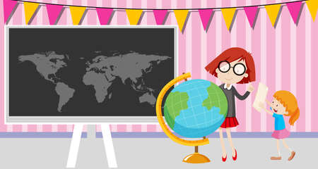 world class: Girls looking at the globe in the classroom illustration