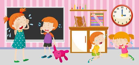 children art: Sad children crying in the classroom illustration