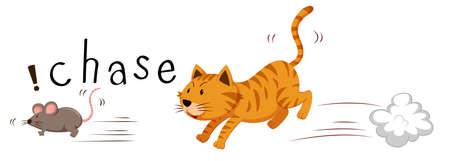 Ginger cat chasing a mouse illustration