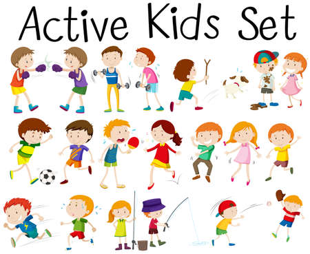 child and dog: Set of children doing different activities illustration