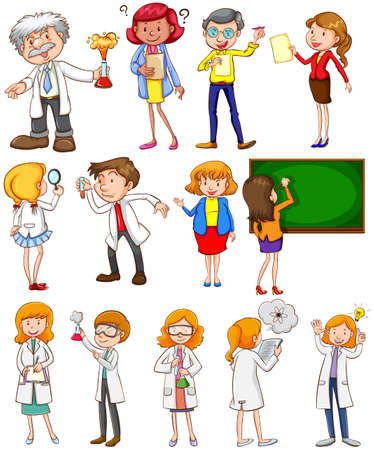 scientists: Teachers and scientists in different actions illustration