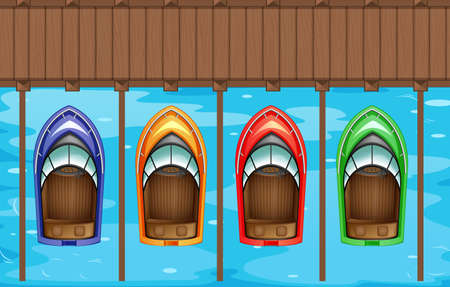 view on sea: Four boats parking at the pier illustration