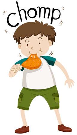 chomp: Fat boy eating chicken illustration