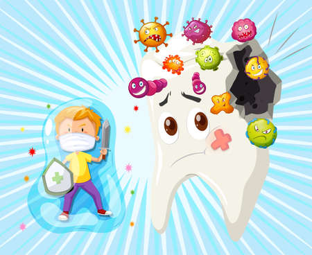 health care fight: Boy fighting with tooth decay illustration