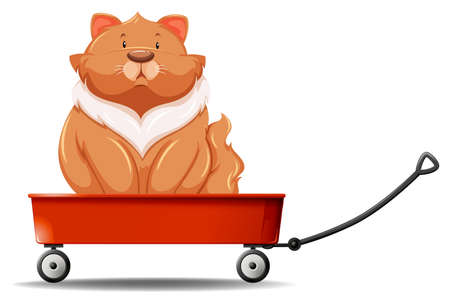wagon wheel: Fat cat sitting on the wagon illustration