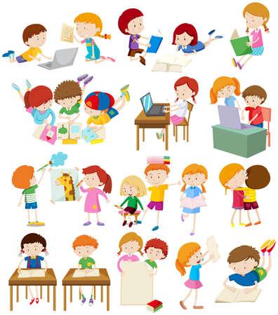 dessin enfants: Les enfants qui font des activit�s � l'�cole illustration
