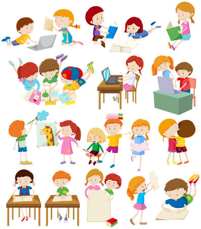 niños leyendo: Niños haciendo actividades en la ilustración de la escuela Vectores