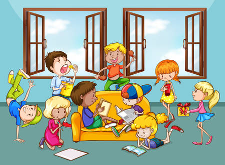 kids fun: Teenagers having fun together illustration