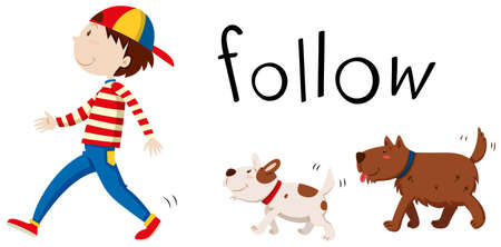 following: Two dogs following the man illustration Illustration