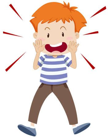 shouting: Little boy shouting alone illustration