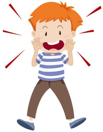 shouting: Little boy shouting alone illustration